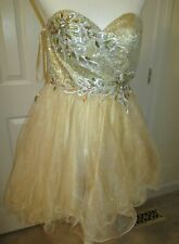 VINTAGE DANCING QUEEN USA SIZE XS EVENING WEAR RHINSTONES ON GOLD STRAPLESS