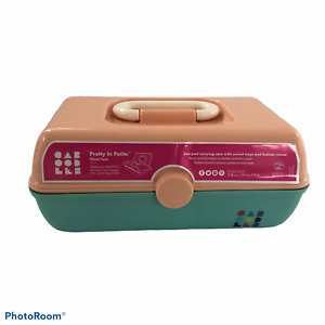 Vtg Caboodle Makeup Case W/Mirror Peach And Turquoise Expandable Tray Retro New