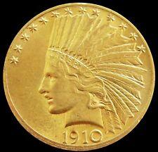 1910 GOLD UNITED STATES $10 INDIAN HEAD EAGLE COIN AU - BU
