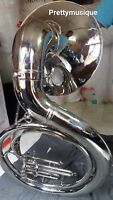 "SOUSAPHONE BIG 25"" BELL OF PURE BRASS METAL CHROME + CASE+FREE SHIP (NEW STOCK)"