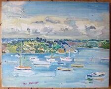 Braudey Paul huile sur toile signée bateau la pêche le port marine Bretagne