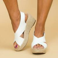 New Womans Slingback Sandals Wedge  Bandage Mule Summer Comfy Peep Toe Shoes