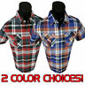 Mens Casual Classic Plaid Short Sleeve Shirt Pleated Pockets Button Front 89