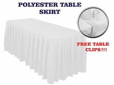 Accordion Pleated TABLE SKIRT FREE CLIPS Polyester Catering Buffet Elegant Cover