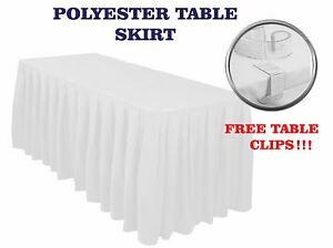 Accordion Pleated TABLE SKIRT Polyester Buffet  Cover (clips subj to available)