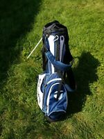 TAYLORMADE  LITE WT. STAND GOLF BAG / 6 WAY DIVIDER / BLUE / WHITE /  RAIN COVER