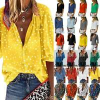 Ladies V Neck Casual Loose T-Shirt Long Sleeve Blouse Tunic Printed Tops Shirts
