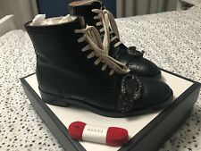 Gucci Dionysus Buckle Black Leather Boots Size 40.5 41 UK 7.5 8
