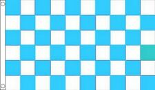 Sky Blue & White Chequered Flag - Large 5 x 3 FT - Checkered Football Team Sport