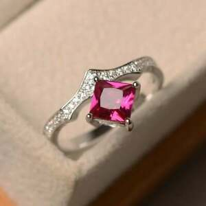 1.20 Ct Natural Ruby Diamond Engagement Ring 14K Solid White Gold Size 5 6 7 8