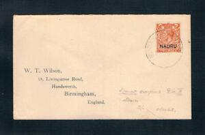"Nauru - 1923 Cover bearing 2d KGV ovrptd ""Nauru"" - DIE II - SC 4a [SG 5] RARE 19"