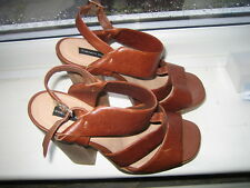 French Connection - FCUK; Ladies Strappy Tan Leather Shoes/ Sandals Euro 40 UK 7