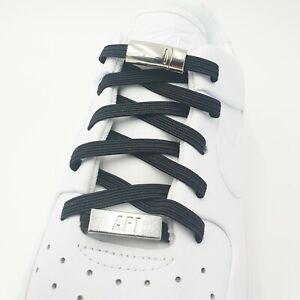 Black No Tie Magnetic Lock Shoe Laces Lazy Kids Adults Sneaker Trainer Laces UK