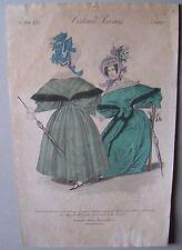 A12 - gravure ancienne mode JOURNAL DES DAMES costumes parisiens - 1833