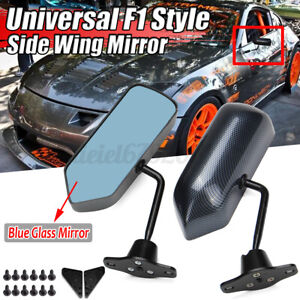 2x Universal F1 Style Car Racing Rearview Side Wing Mirrors Convex Carbon Style