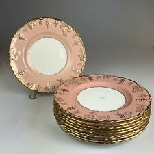 "8 Vintage Royal Crown Derby ""Vine Pink"" Dinner Plates 10.25"" #212131"