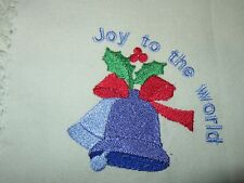 NEW EMBROIDERED JOY TO THE WORLD SET OF 4 NAPKIN
