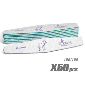 Ezflow Grey Wolf Nail Files 150/150 x 50ct for acrylic UV gel Dip powder