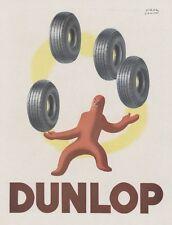 """""""DUNLOP"""" Annonce originale entoilée FRANCE ILLUSTRATION 1945 Paul COLIN 31x40cm"""