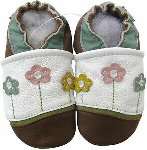 carozoo little flower white brown 6-12m soft sole leather baby shoes