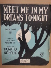 song sheet MEET ME IN MY DREAMS TONIGHT Horatio Nicholl