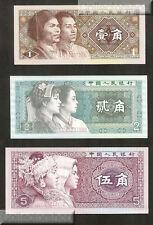 China ( People's Republic ) 1 - 2 - 5 Jiao 1980 Unc Pn 881-883