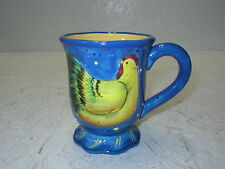 Certified International Susan Winget Country Chicken Hen Cup Mug Blue Yellow