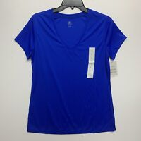 C9 By Champion Fitted Duo Dry Shirt Top Size Large blue Activewear v neck