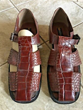 Men's STACY ADAMS Dress Casual Fisherman Sandals BROWN Closed Toe LEATHER Sz 14
