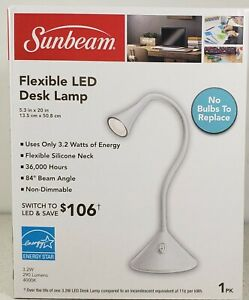 SUNBEAM Flexible LED Desk Lamp Light No Bulb to Replace White On/Off Switch NEW