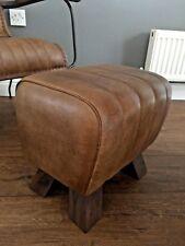 Genuine Leather Walnut Brown Pommel Stool Footstool Vintage Seat Gift Present