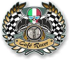 Retro Cafe Racer Crest Ton Up motociclista italiano il tricolore Bandera Pegatina Coche Bicicleta
