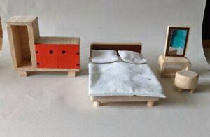 Plan Toys Wooden dolls house furniture for Bedroom