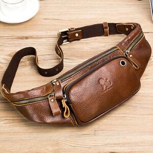 Men's Outdoor Genuine Leather Retro Waist Fanny Pack Crossbody Sling ShoulderBag