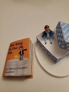 Miniature readable book The Ring In The Pie & mini NASB doll for Hitty or Betsy
