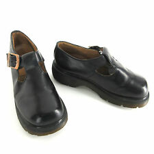 Dr Doc Martens Mary Janes 4 UK 6 US 37 EU Black Leather T-Strap Shoes England
