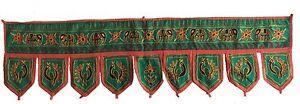 Green Indian embroidered toran door valances wall hanging Elephant Home Decor