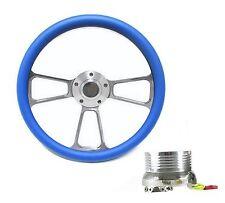 Camaro Steering Wheel Billet Aluminum, Sky Blue Wrap, Horn & Billet Adapter