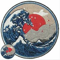 Round Japan Kanagawa Wave Ocean Sea Embroidered Iron On Patch Badge Applique HOT