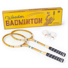 """Vintage Wooden Badminton Set with (2) 27"""" Racquets & (2) Feather Shuttlecocks"""
