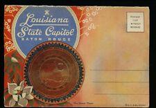 Postcard Folder Louisiana LA Baton Rouge Capitol Bronze Plaque Linen Curt Teich