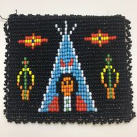 Vtg Intricate Seed Bead Snap Closed Change Coin Purse Tee Pee Squaw Arrows