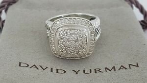 David Yurman 925 Sterling Silver Albion® Ring with 0.59 ct Pave Diamonds, 11mm