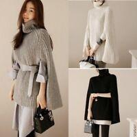 Women Cloak Batwing Top Poncho Loose Knit Turtle Neck Sweater Cape Coat Outwear