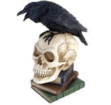 Poe's Raven Skull Nevermore Poesie Bücher Harz Dekor Statue V17 Alchemy Gothic