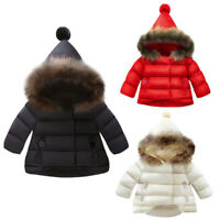 Toddler Kid Baby Girl Coat Jacket Autumn Winter Warm Fur Hooded Outwear Snowsuit