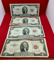 4 Note AA Set 1953 + A B C $2 United States Red Seal US LEGAL TENDER NOTE F / VF