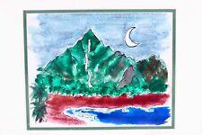 FRITZSCHE ART Print Hanalei Hawaii Moon Water Color Diane Hand Signed Matte