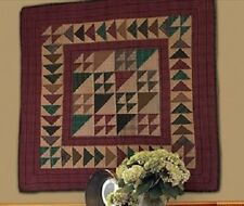 "Rustic Flying Geese Tea Dyed Quilted Wallhanging~Table Topper~Lap Quilt 43""X43"""