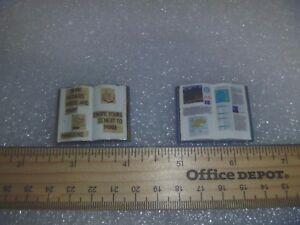 Set of 2 Miniature Wooden Open Face Books~*~Craft Fair Find Set 3